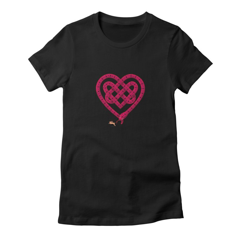 Knotted Heart Women's Fitted T-Shirt by JesFortner