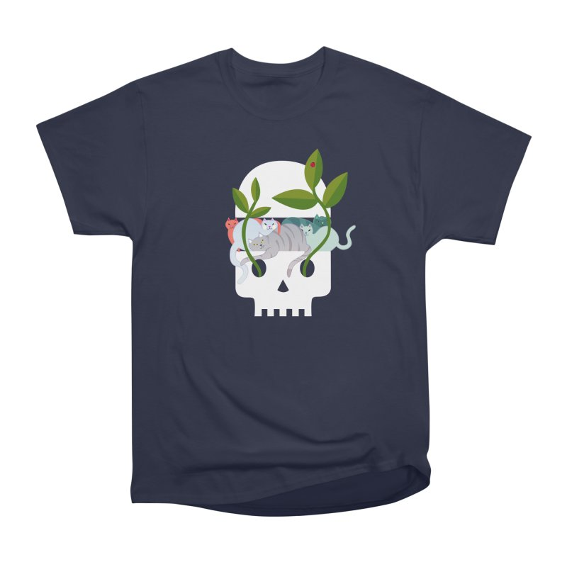 Skull Cats Men's Heavyweight T-Shirt by JesFortner