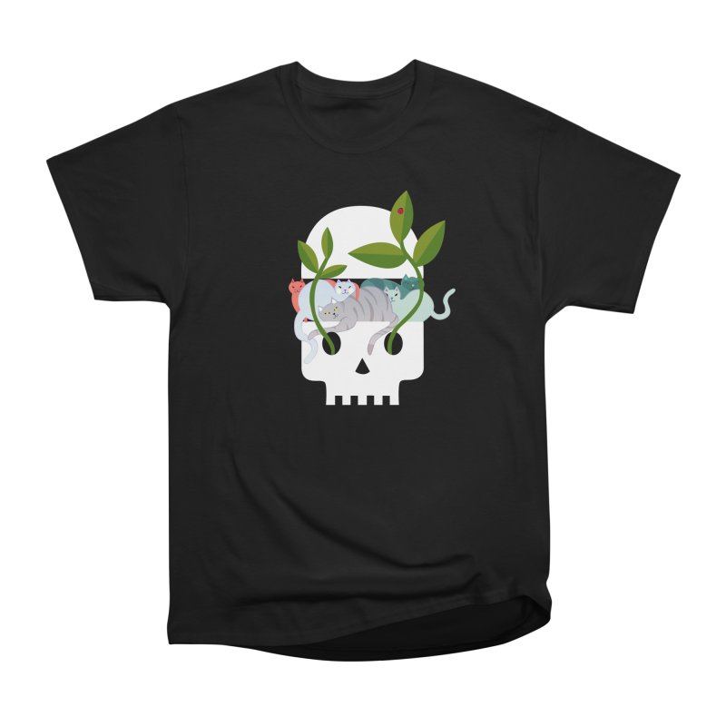 Skull Cats Men's Heavyweight T-Shirt by JesFortner