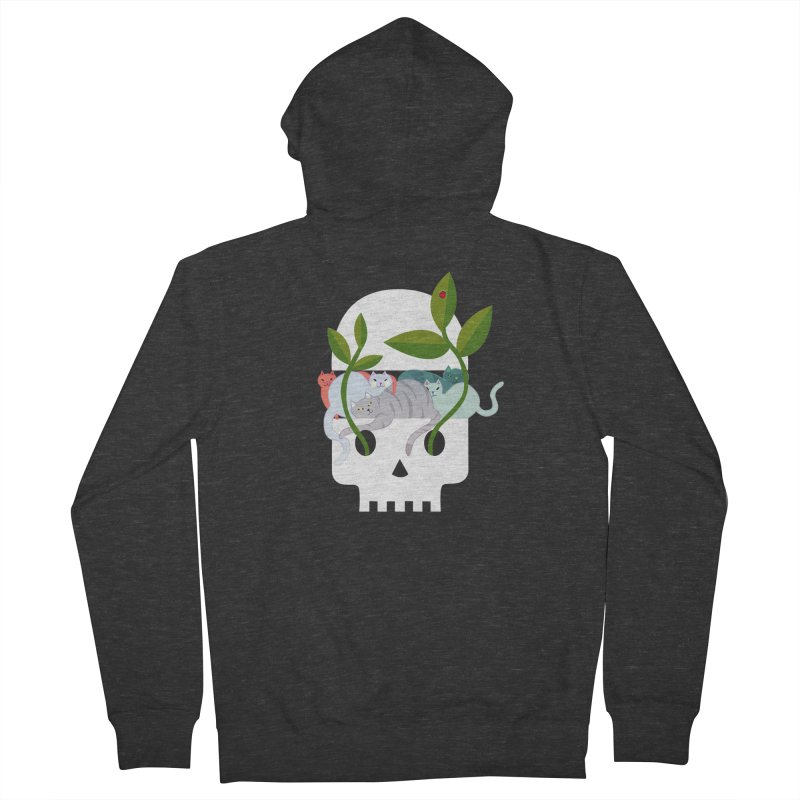 Skull Cats Men's French Terry Zip-Up Hoody by JesFortner