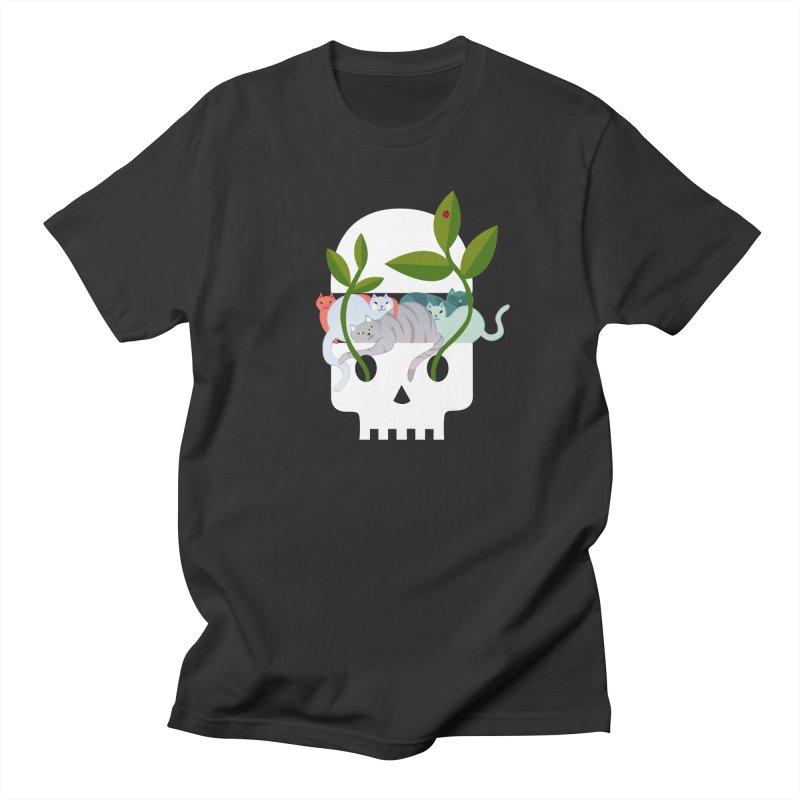 Skull Cats Men's T-Shirt by JesFortner