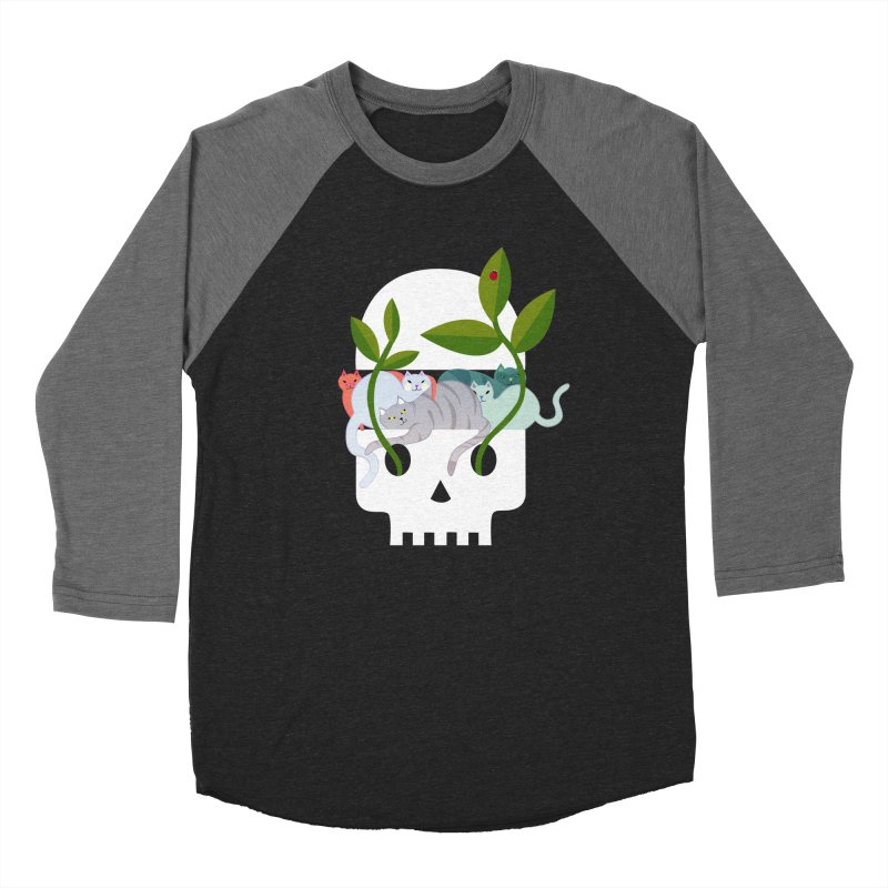 Skull Cats Men's Baseball Triblend T-Shirt by JesFortner