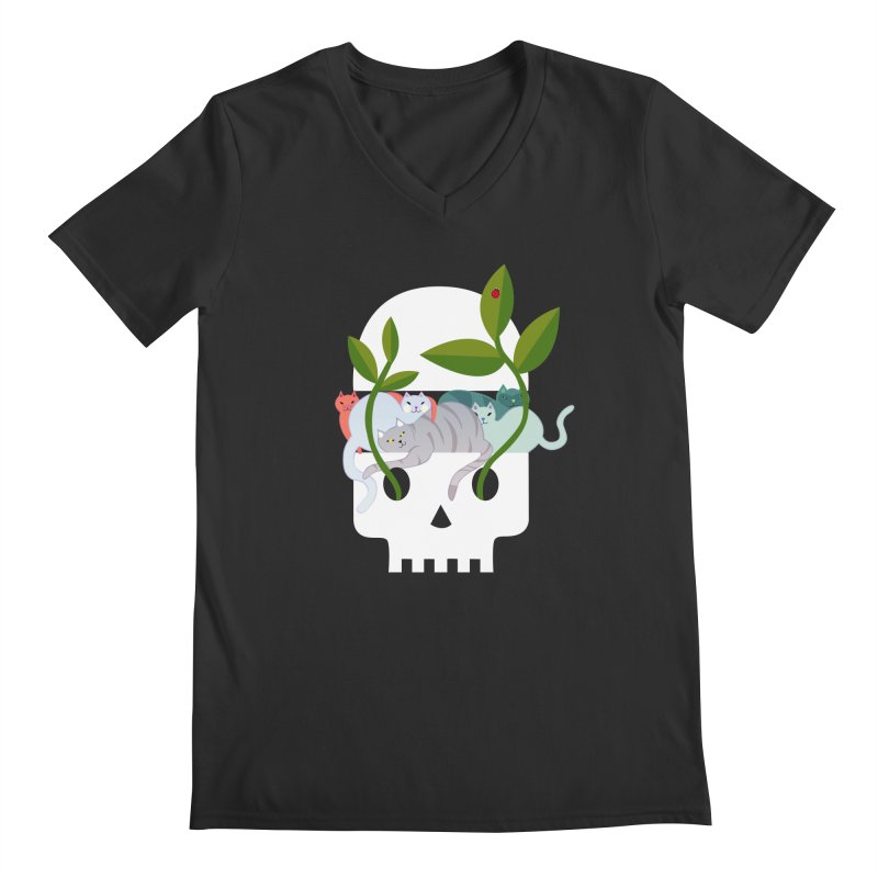 Skull Cats Men's V-Neck by JesFortner