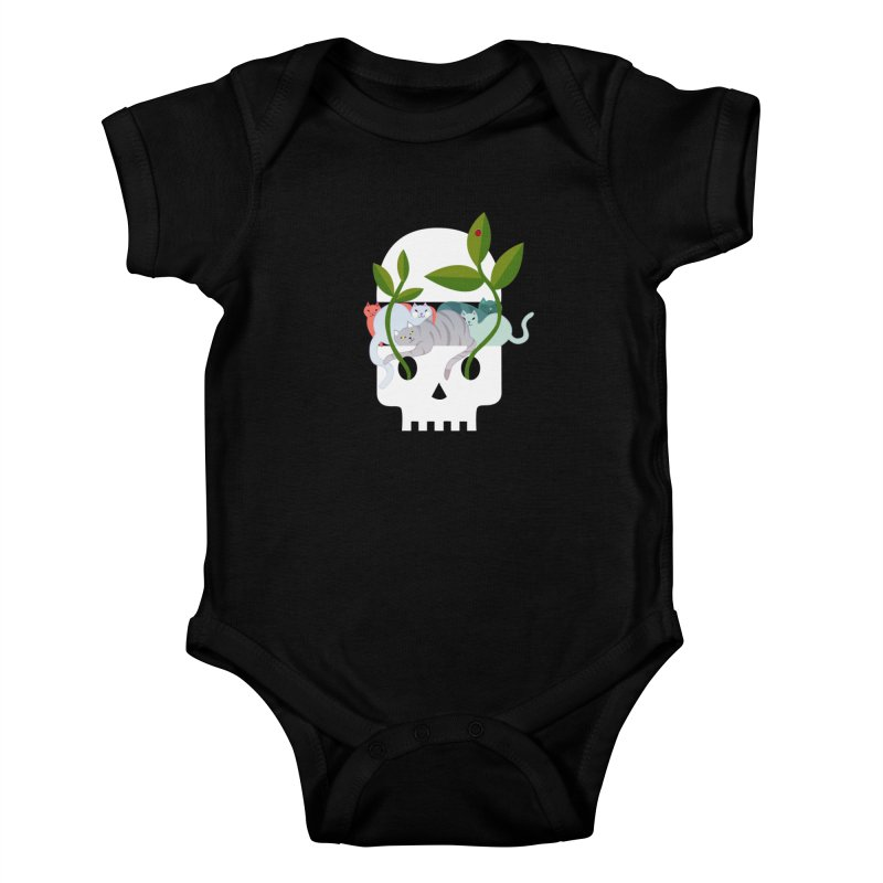 Skull Cats Kids Baby Bodysuit by JesFortner