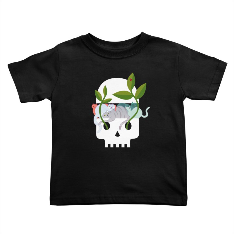 Skull Cats Kids Toddler T-Shirt by JesFortner