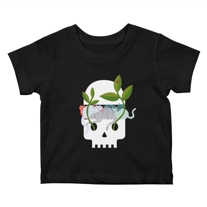 Skull Cats Kids Baby T-Shirt by JesFortner