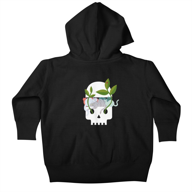 Skull Cats Kids Baby Zip-Up Hoody by JesFortner