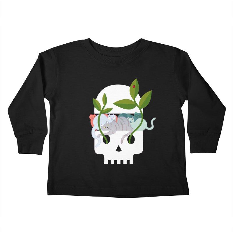 Skull Cats Kids Toddler Longsleeve T-Shirt by JesFortner
