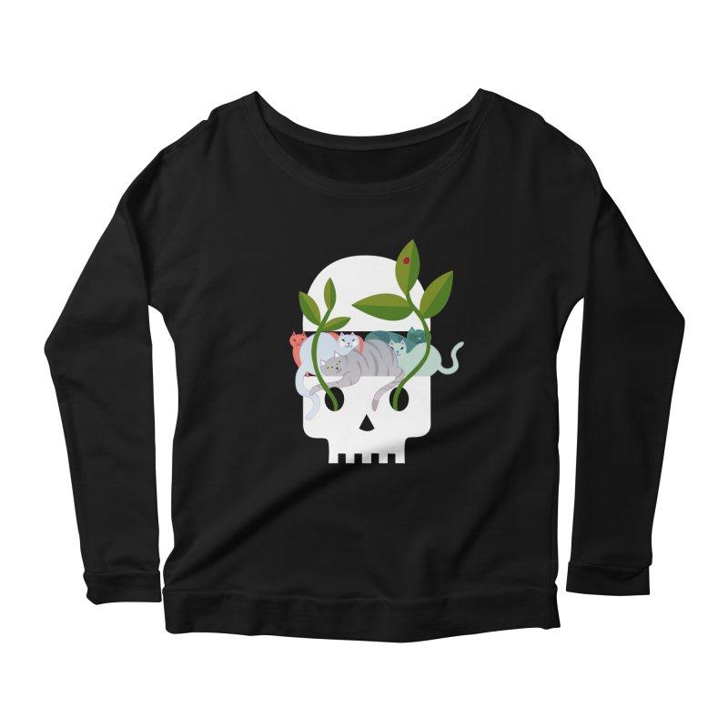 Skull Cats Women's Scoop Neck Longsleeve T-Shirt by JesFortner