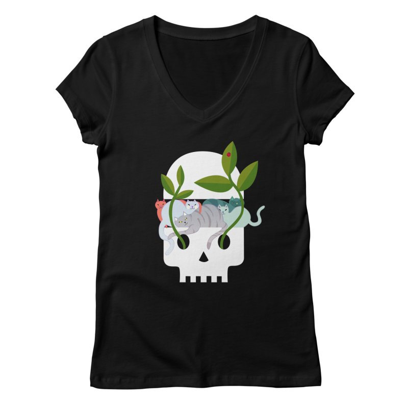 Skull Cats Women's V-Neck by JesFortner