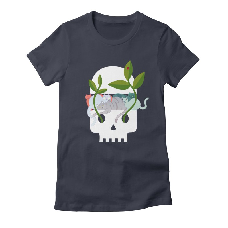 Skull Cats Women's Fitted T-Shirt by JesFortner