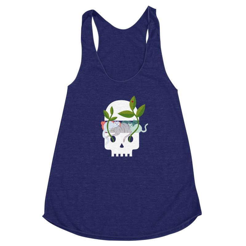 Skull Cats Women's Racerback Triblend Tank by JesFortner