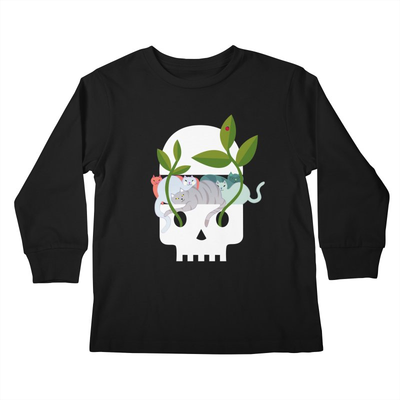 Skull Cats Kids Longsleeve T-Shirt by JesFortner