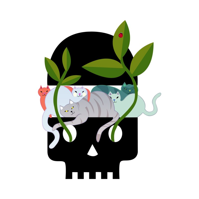 Skull Cats Black None  by JesFortner