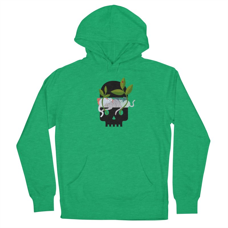 Skull Cats Black Women's French Terry Pullover Hoody by JesFortner