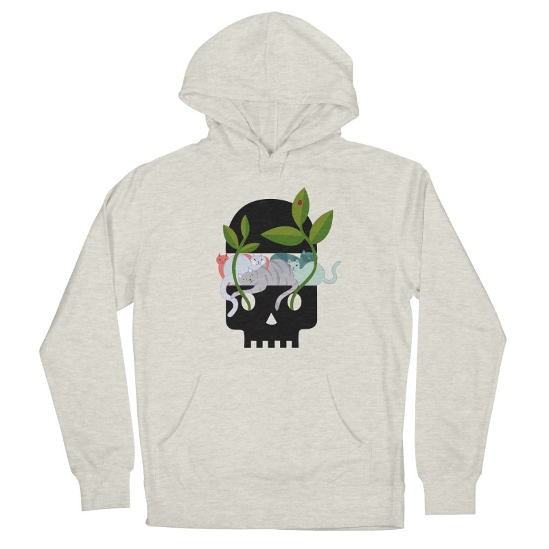 Skull Cats Black Men's French Terry Pullover Hoody by JesFortner
