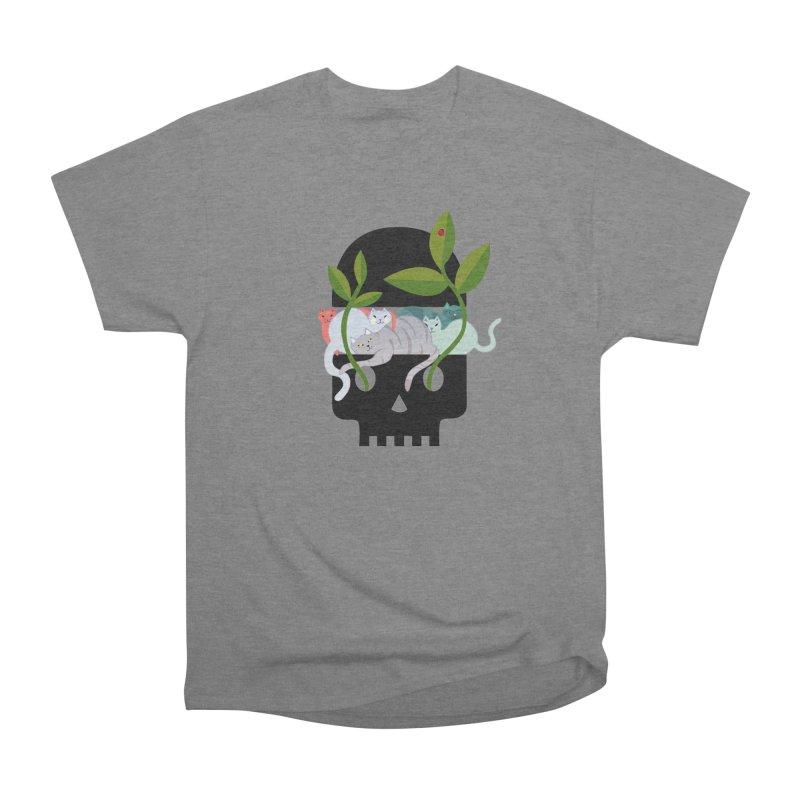 Skull Cats Black Men's Heavyweight T-Shirt by JesFortner