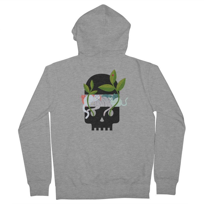 Skull Cats Black Women's French Terry Zip-Up Hoody by JesFortner