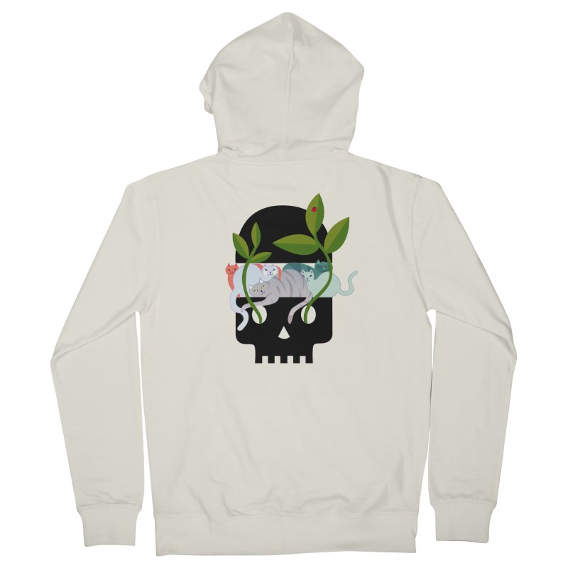 Skull Cats Black Men's French Terry Zip-Up Hoody by JesFortner