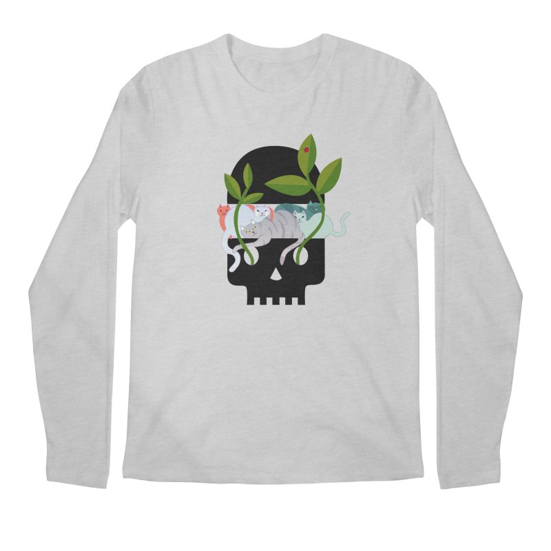 Skull Cats Black Men's Longsleeve T-Shirt by JesFortner