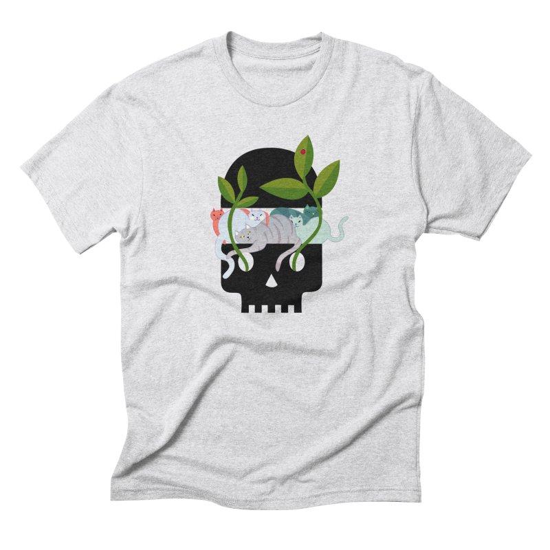 Skull Cats Black Men's T-Shirt by JesFortner