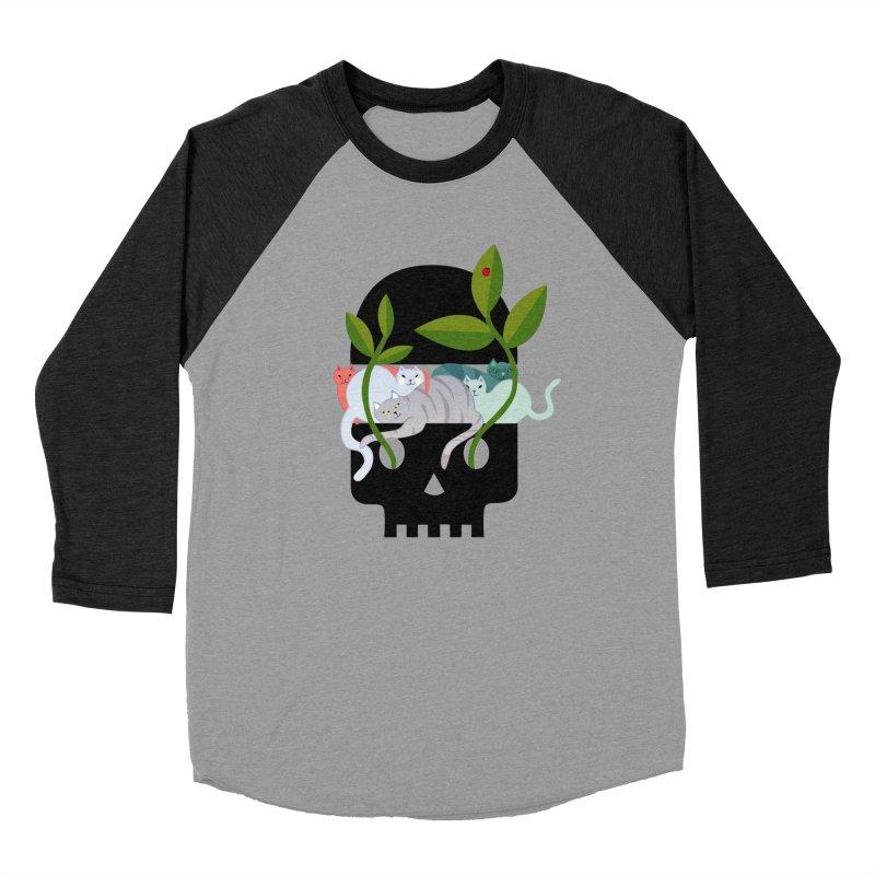 Skull Cats Black Women's Baseball Triblend T-Shirt by JesFortner