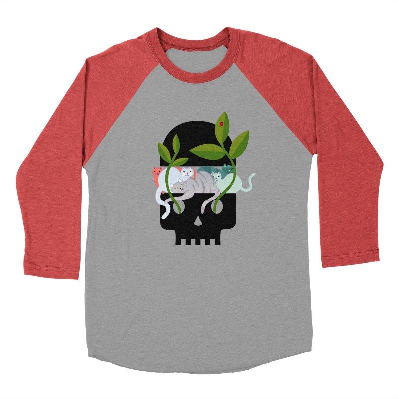 Skull Cats Black Men's Baseball Triblend T-Shirt by JesFortner