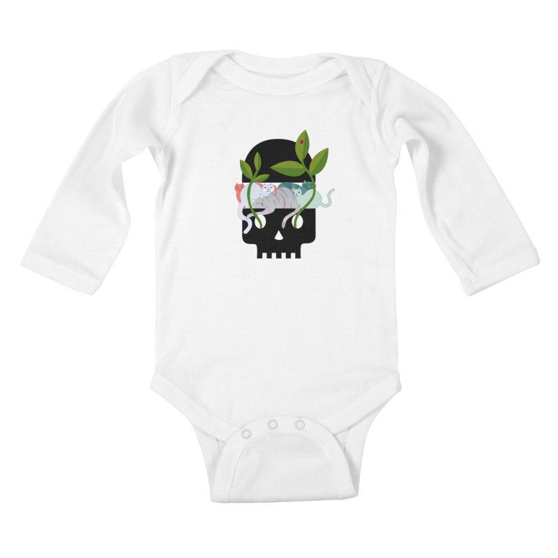 Skull Cats Black Kids Baby Longsleeve Bodysuit by JesFortner