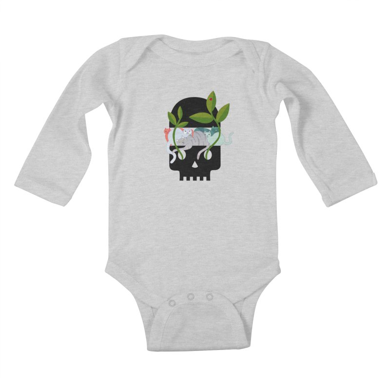 Skull Cats Black Kids Baby Longsleeve Bodysuit by JesFortner