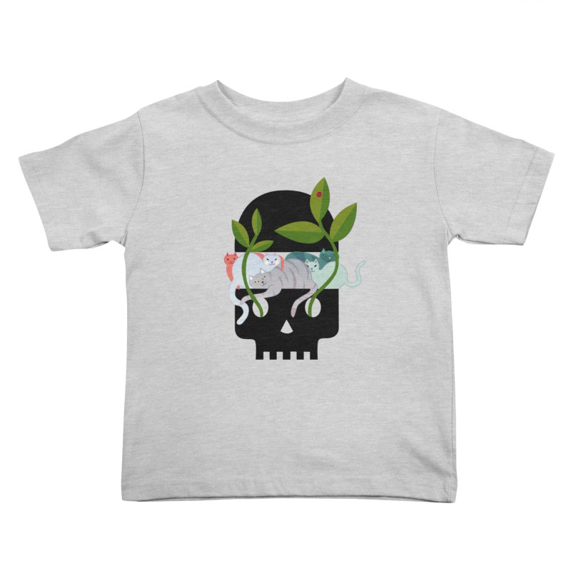 Skull Cats Black Kids Toddler T-Shirt by JesFortner