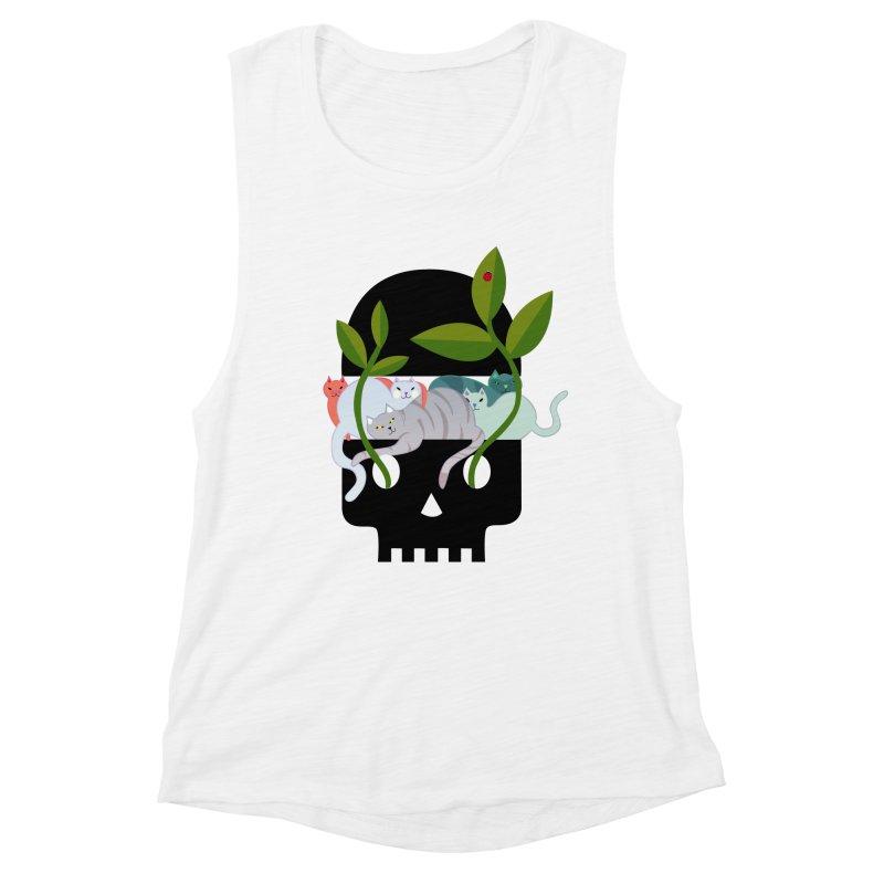 Skull Cats Black Women's Muscle Tank by JesFortner