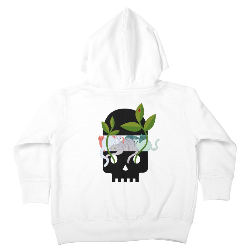 Skull Cats Black Kids Toddler Zip-Up Hoody by JesFortner