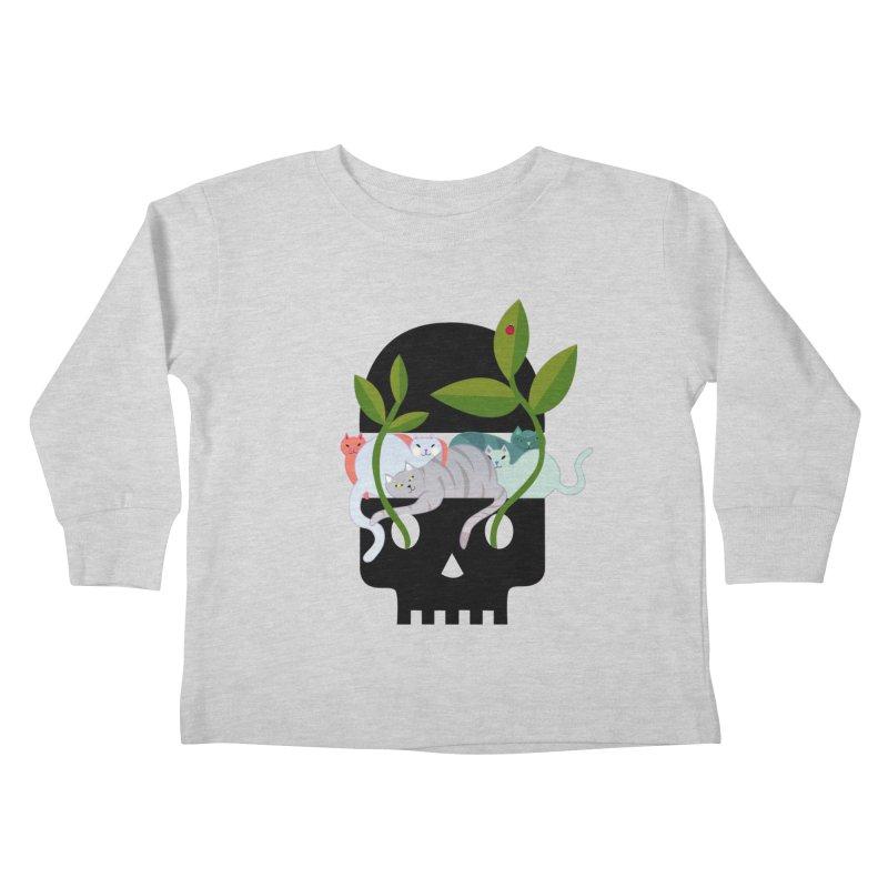 Skull Cats Black Kids Toddler Longsleeve T-Shirt by JesFortner