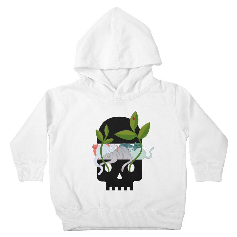 Skull Cats Black Kids Toddler Pullover Hoody by JesFortner
