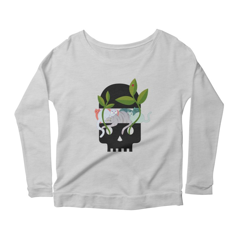 Skull Cats Black Women's Scoop Neck Longsleeve T-Shirt by JesFortner