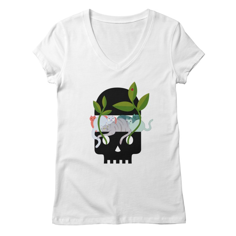 Skull Cats Black Women's V-Neck by JesFortner