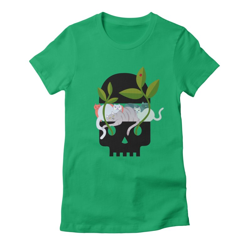 Skull Cats Black Women's Fitted T-Shirt by JesFortner