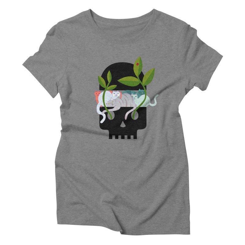 Skull Cats Black Women's Triblend T-Shirt by JesFortner