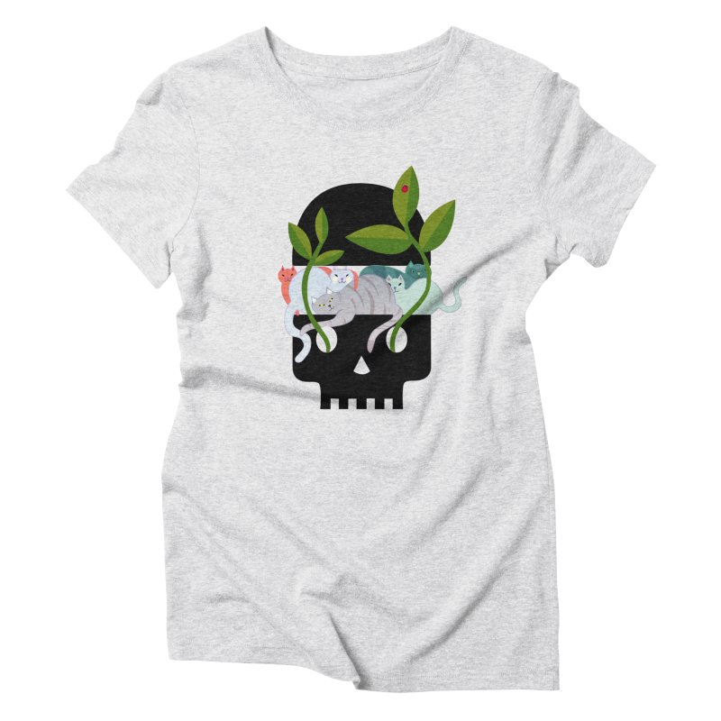 Skull Cats Black Women's Triblend T-Shirt by JesFortner
