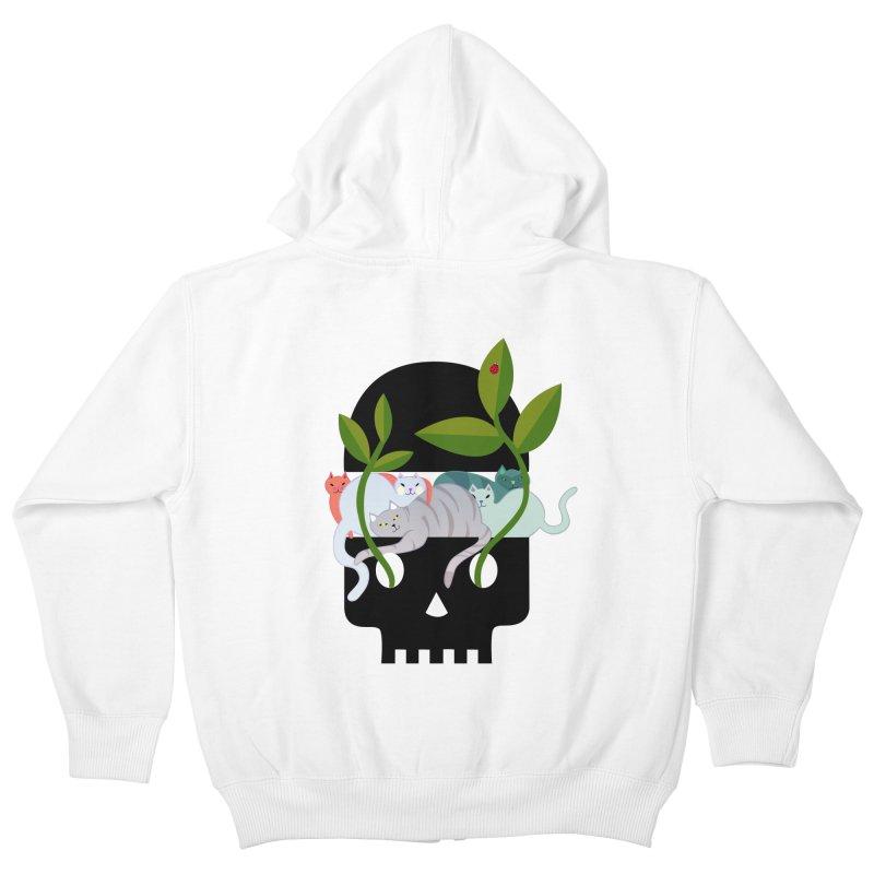 Skull Cats Black Kids Zip-Up Hoody by JesFortner