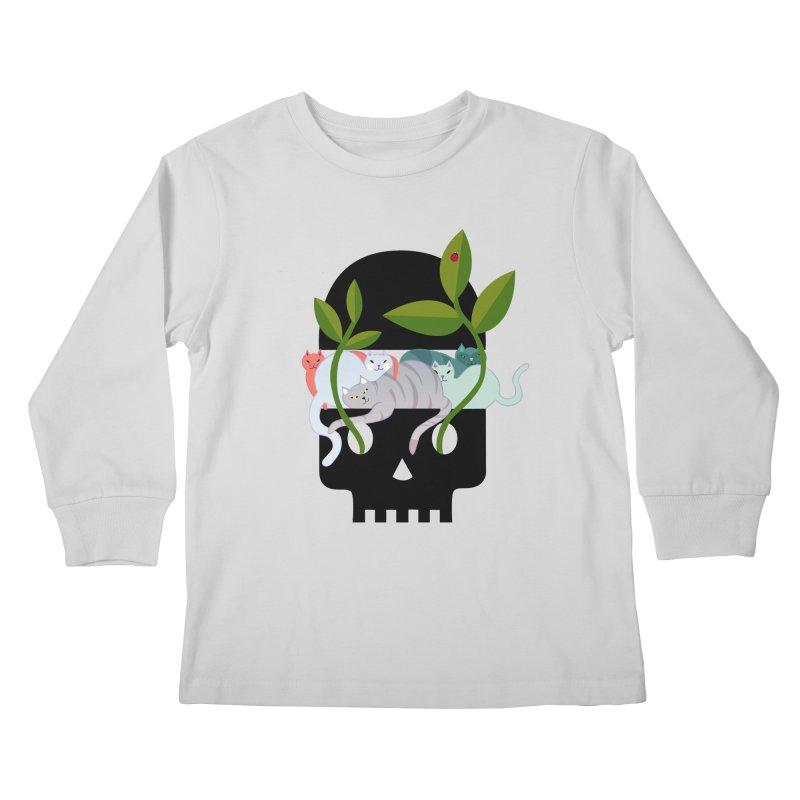 Skull Cats Black Kids Longsleeve T-Shirt by JesFortner