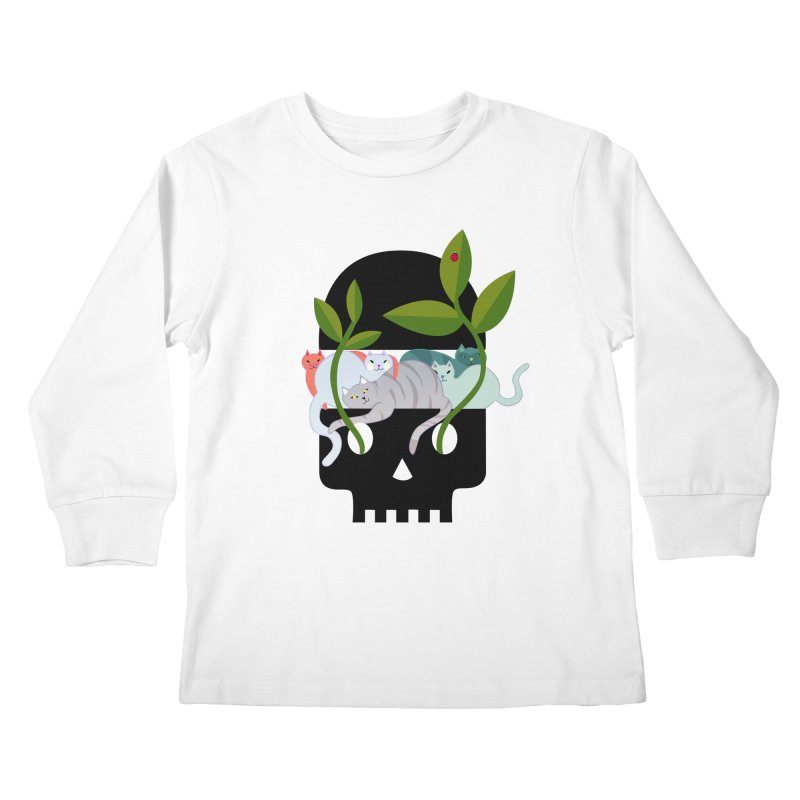 Skull Cats Black Kids Longsleeve T-Shirt by JesFortner