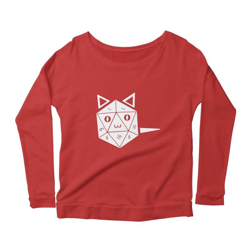 D20 Cat Women's Scoop Neck Longsleeve T-Shirt by n3kogami prints