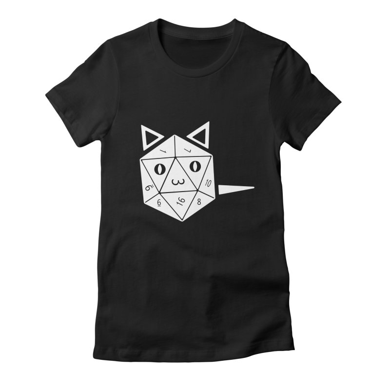 D20 Cat Women's Fitted T-Shirt by n3kogami prints