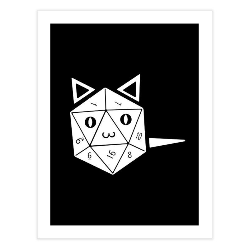 D20 Cat Home Fine Art Print by n3kogami prints