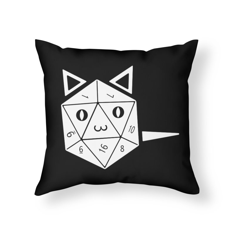 D20 Cat Home Throw Pillow by n3kogami prints