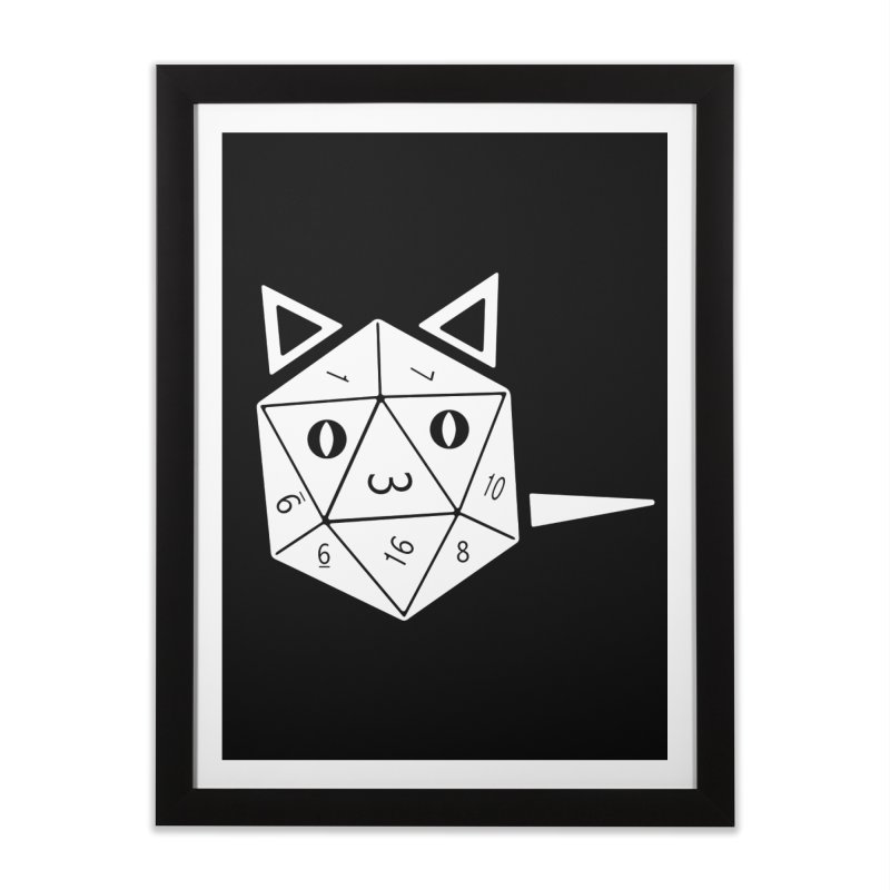 D20 Cat Home Framed Fine Art Print by n3kogami prints