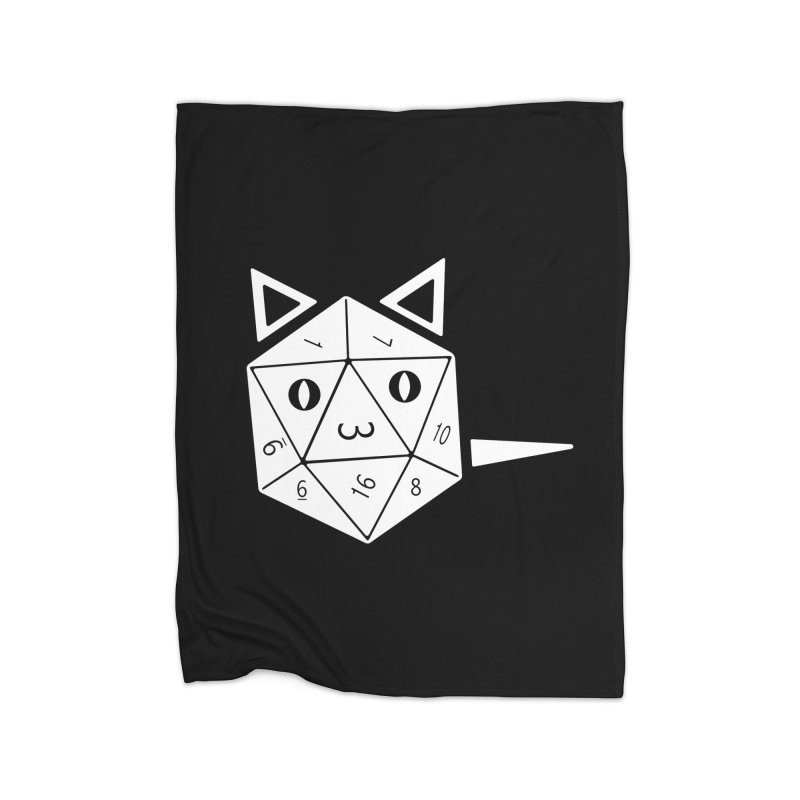 D20 Cat Home Fleece Blanket Blanket by n3kogami prints
