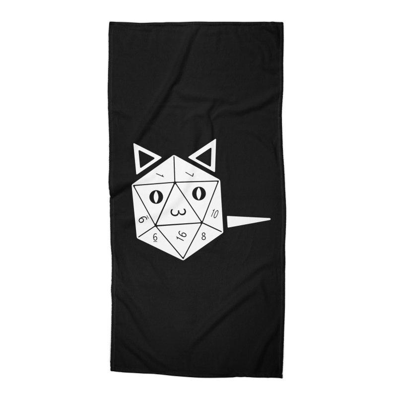 D20 Cat Accessories Beach Towel by n3kogami prints