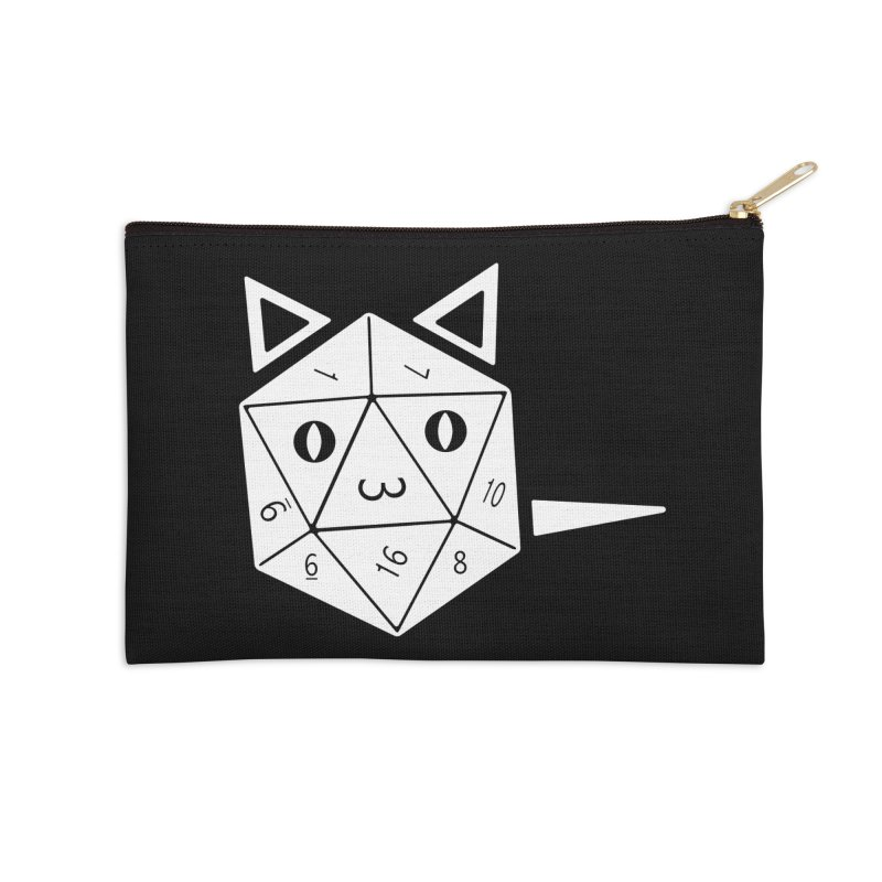 D20 Cat Accessories Zip Pouch by n3kogami prints